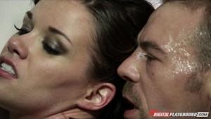Young natural-tit brunette slut sucks & fucks hard-dick to orgasm