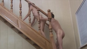 sucking and copulate on the stairs