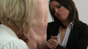 Clothed office ladies jerking cock