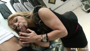 Slutty big-boobed MILF Shayla Leveaux rides big hard cock at work