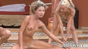 Three blond lezzies excercising outside