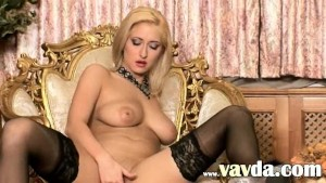 Black charming stockings and glass dildo