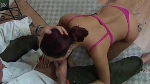 Brunette Sucks Cock and Gets a Facial