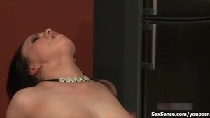 Horny brunette gets her greedy wet cunt fucked hard and deep