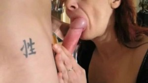 Amateur redhead Milf sucks and fucks a young guy
