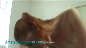Czech redhead lapdances and does BJ
