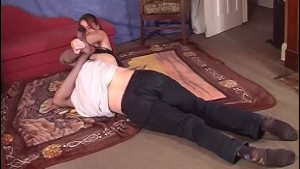 Dominant white lady wrestles with a guy