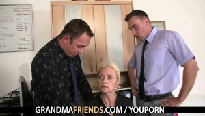 Two co-owners bang hot mature lady