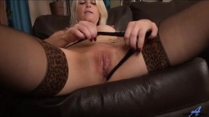 Sexy blonde cougar loves her new toy
