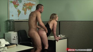 Blonde secretary gives her boss her proposal and a quick fuck