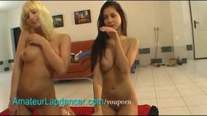 Blonde vs. brunette - gorgeous double lapdance
