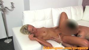 FakeAgent Blonde babe sucks and fucks in casting