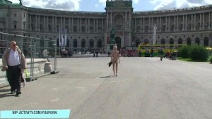 Slim blonde lucie shows her naked body in public