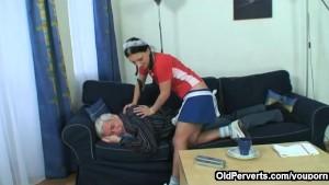 Old man fucks his sexy maid