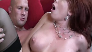 Big boobed redhead fucking in thigh high nylons