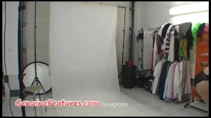 Backstage photoshoot in hot latex dress