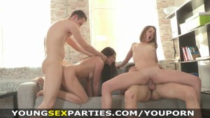 Young Sex Parties - Teen chicks sharing stiff dicks