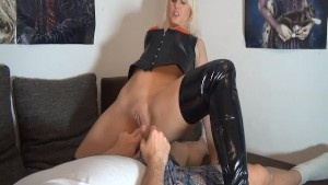 German blonde rides cock and takes creampie