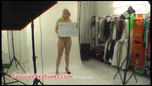 Sympathetic blonde has a fun in backstage