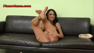 Gorgeous Tattooed Brunette Foot Show