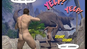 CRETACEOUS COCK 3D Gay Comic Story about Young Scientist Fucked by Hunky Primeval Caveman