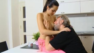 Dumb teen girl lets old man fuck her tight shaved pussy on the kitchen table