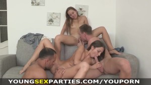 Young Sex Parties - Teen sluts fucked head to head