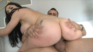Naughty Brunette enjoying riding on a huge Dong