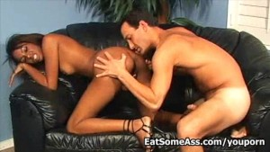 Black Interracial Hottie Dena Caly Eats Ass gets load on her face
