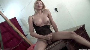 Blonde shemale stroking herself in my room