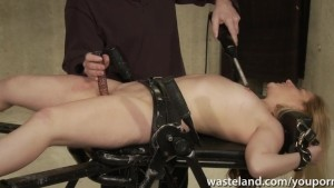 Master ties her down for intense electic play