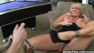 Blonde mom fucks in a pool room