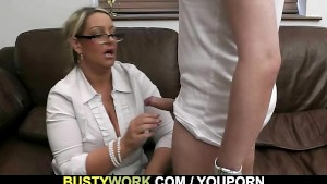 Busty salesgirl gets boned from behind