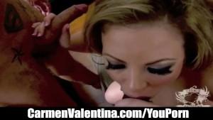 Blowjob slut Carmen Valentina stuffs her mouth with 2 thick cocks