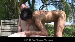 Sexy short haired brunette makes nice blowjob backyard