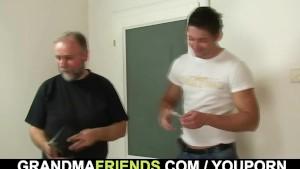 Old couple invite him for threesome