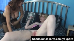 Horny MILF Charlee Chase licks a shy teen s pussy!