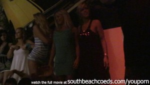 hot amateur gilrs trying to strip on a pole at south beach florida club