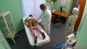 Czech Patients bad back doesn t stop doctor bending her over the table to expose her wet pussy