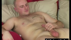 Bald Straight Guy Rock Wanking His Big Prick