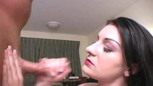 Sexy amateur brunette MILF jerking dick 6