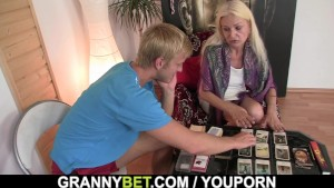 Skinny granny takes it from behind