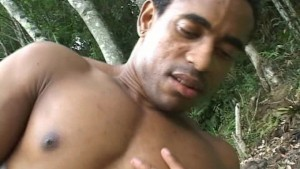 Black friends cumming in the garden under the sun