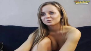 Naughty blonde plays with pussy