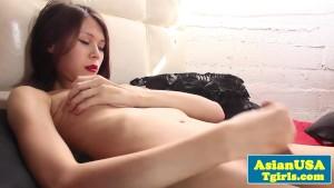 Asian tgirl babe Rika T wanking at home