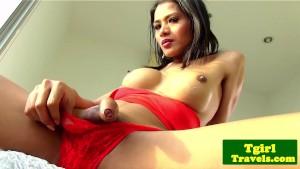 Asian tgirl Lulu fingers her tight butt