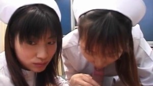Saki Mutoh and other nurse in uniform suck same patient cock