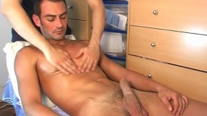 Delivery guy gets wanked his big cock by a client for a porn movie!