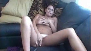 Busty Leslie masturbates her pussy