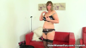 British milf April takes a masturbation break